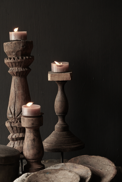 Wooden Nepalese candlestick from old ornament