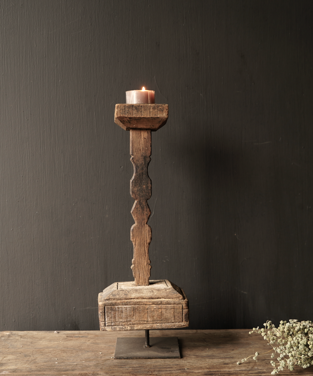 Wooden Nepalese candlestick from old ornament-4