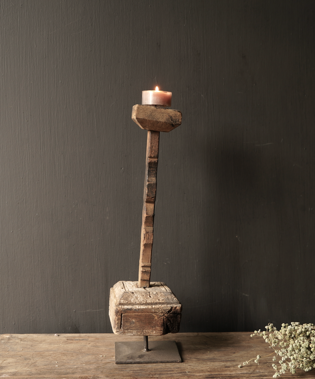 Wooden Nepalese candlestick from old ornament-5