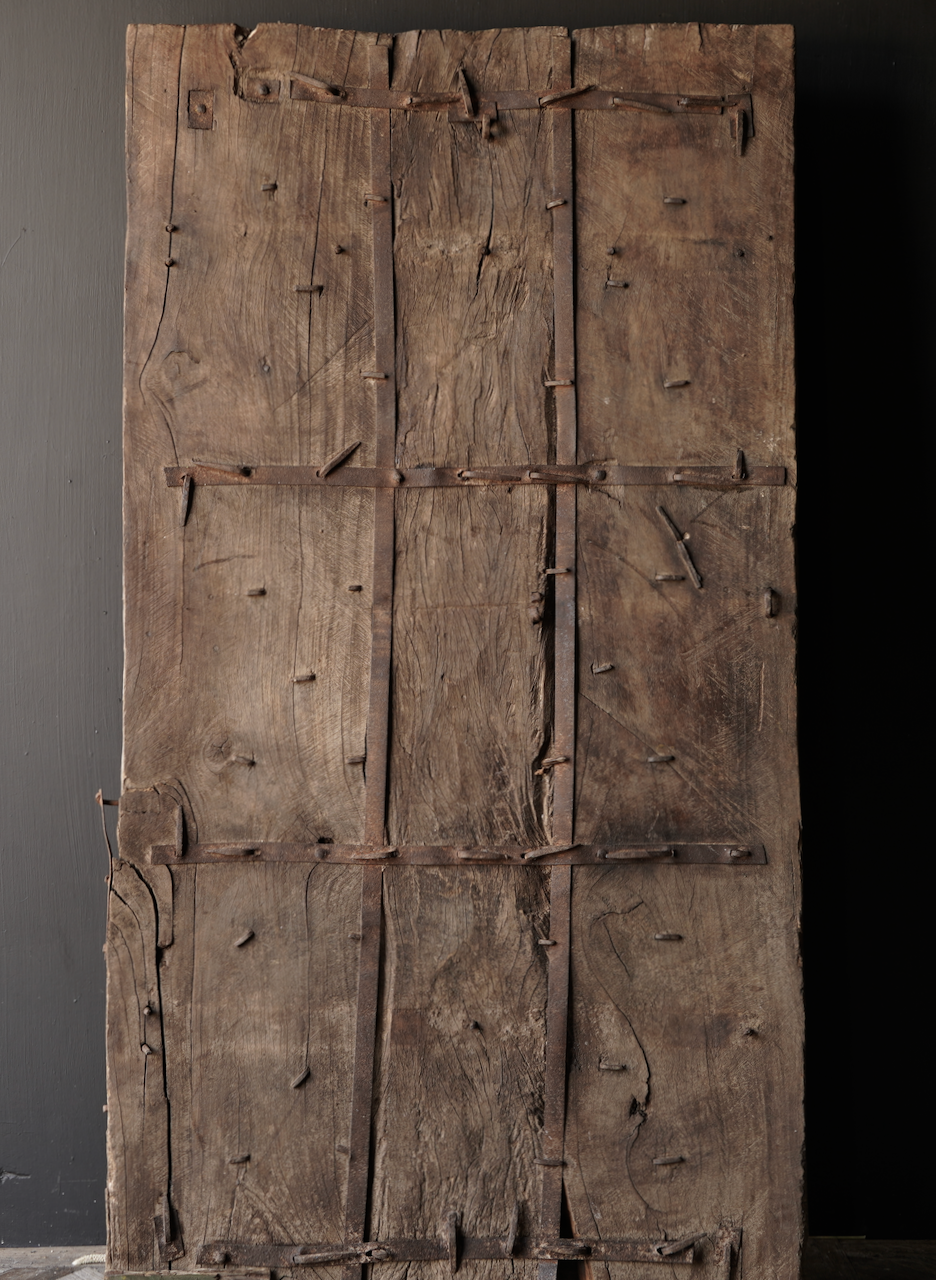 Heavy Old Indian iron door with wooden finish-6
