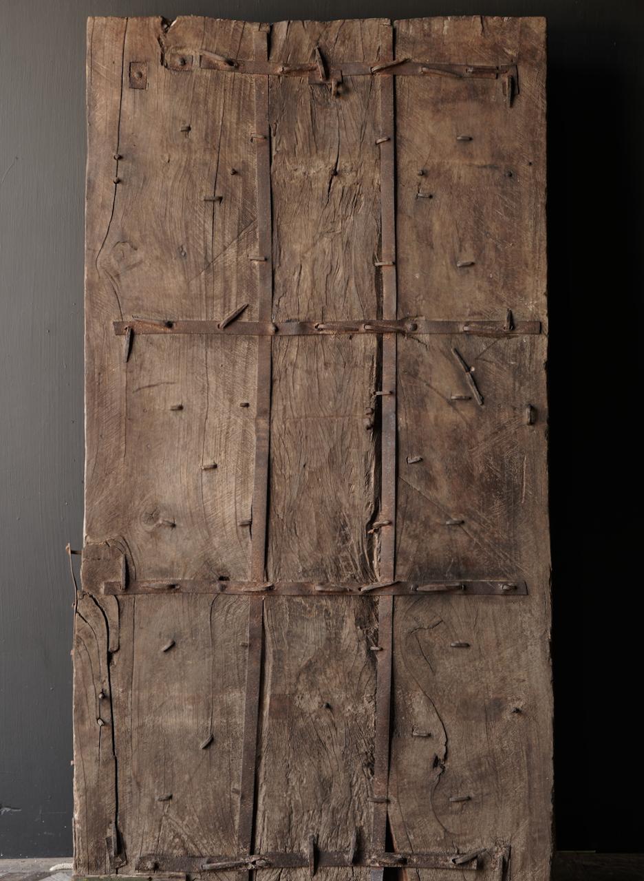 Zwaar Oude Indische ijzeren deur  met houten afwerking-6