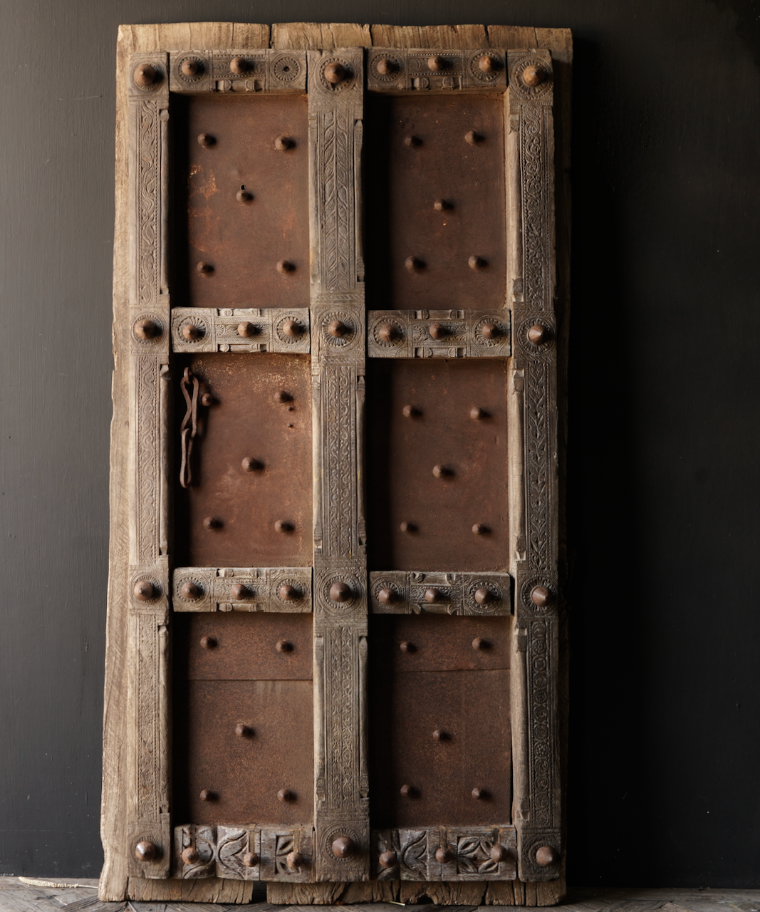 Heavy Old Indian iron door with wooden finish-2