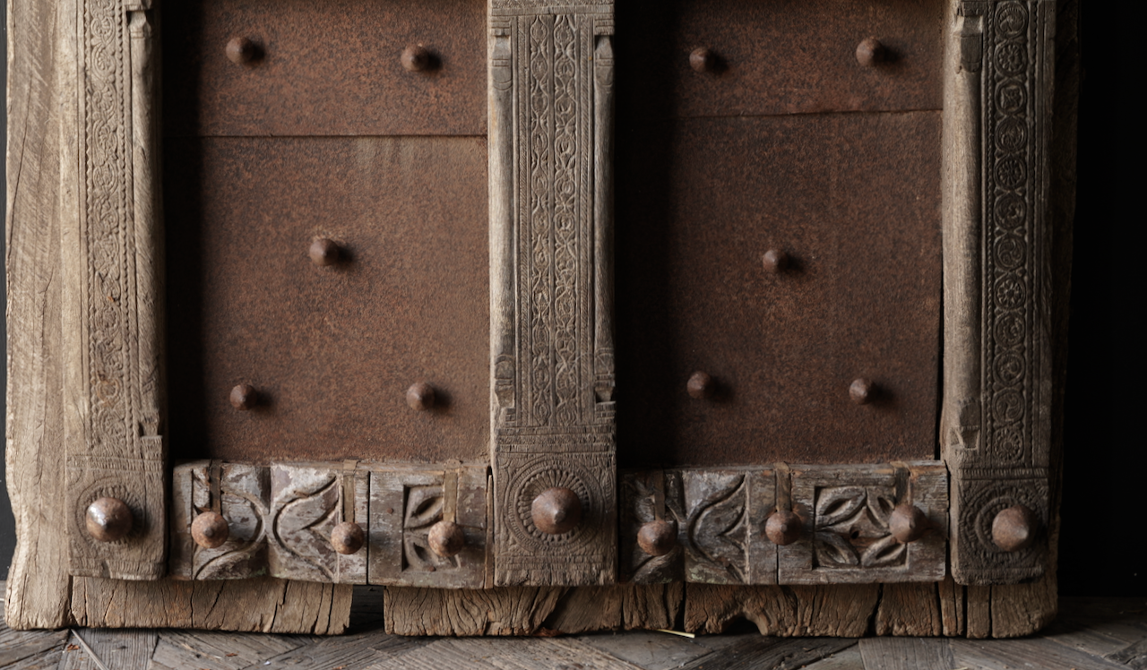 Heavy Old Indian iron door with wooden finish-5