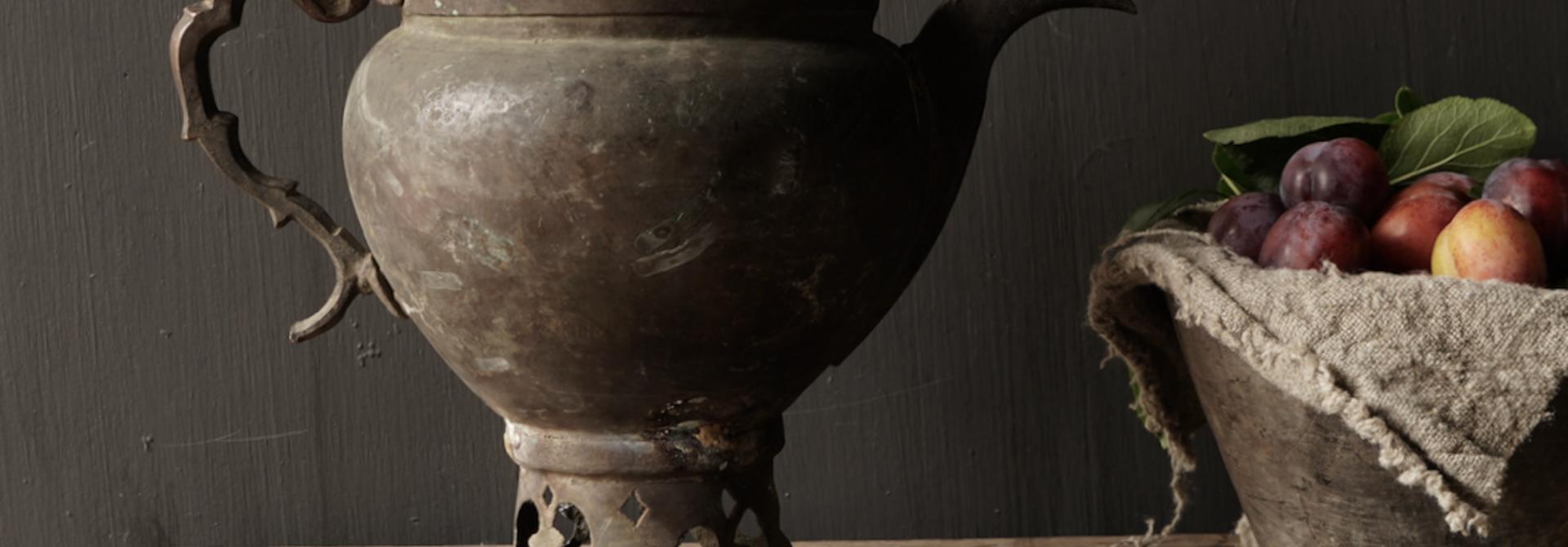 Ottomaanse tin / koperen antieke kan