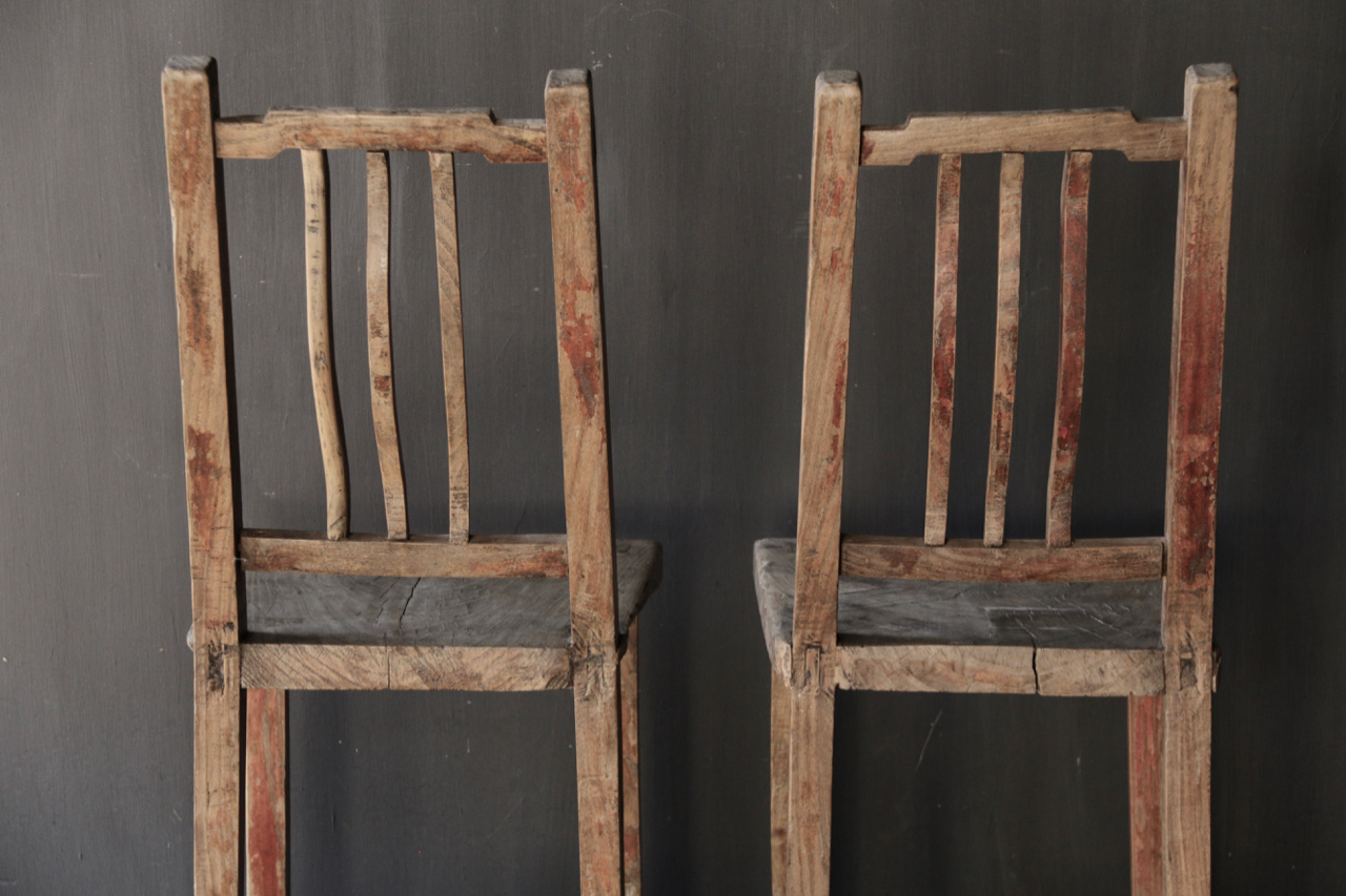 Unique Authentic old high wooden chair-5