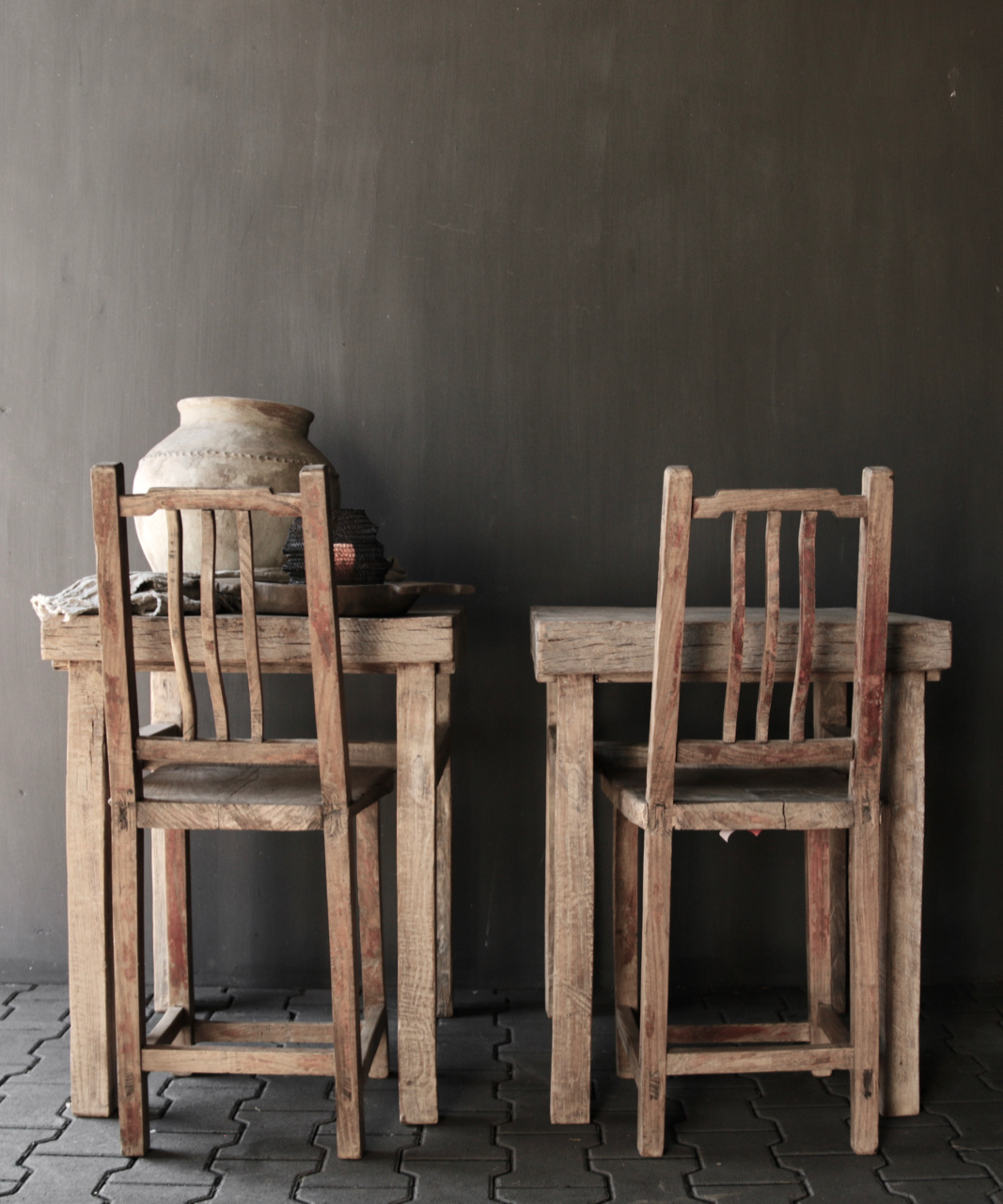 Unique Authentic old high wooden chair-7