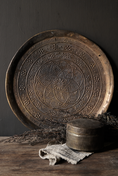 Authentic old bronze hand-studded plate