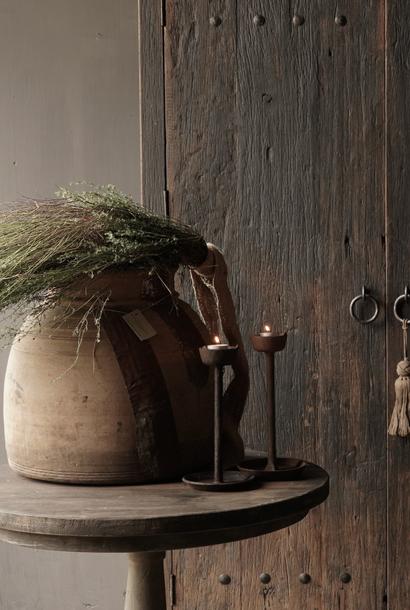 Oud houten nepalese kruik XXL