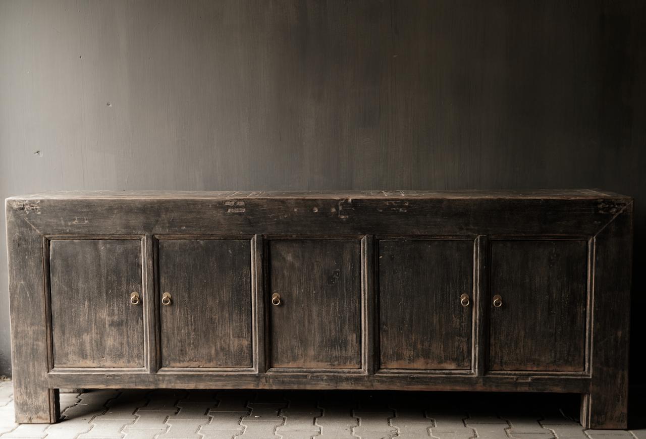 *Gereserveerd*Oude Authentieke Zwart/Bruin  Dressoir met  vijf deurtjes-4