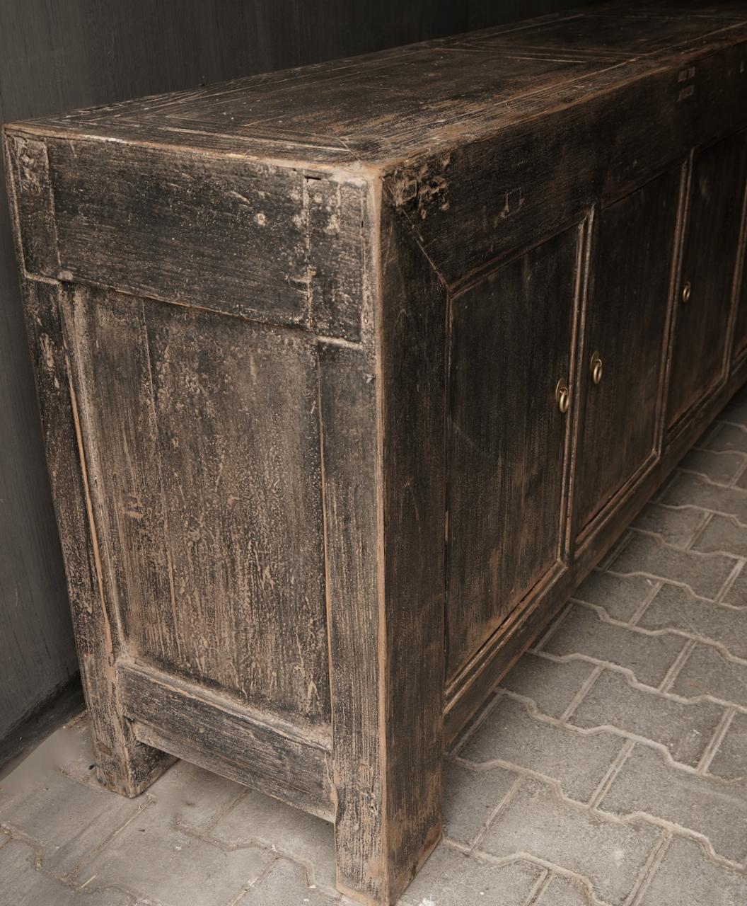 *Gereserveerd*Oude Authentieke Zwart/Bruin  Dressoir met  vijf deurtjes-5