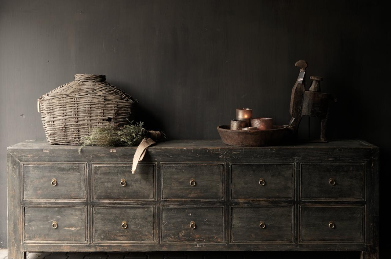 Oude Authentieke Zwart/Bruin  Dressoir met  10 lades-2