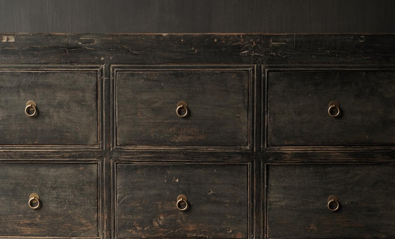 Oude Authentieke Zwart/Bruin  Dressoir met  10 lades-5