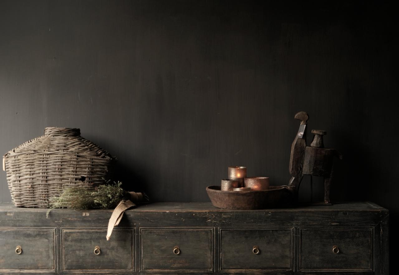 Oude Authentieke Zwart/Bruin  Dressoir met  10 lades-6
