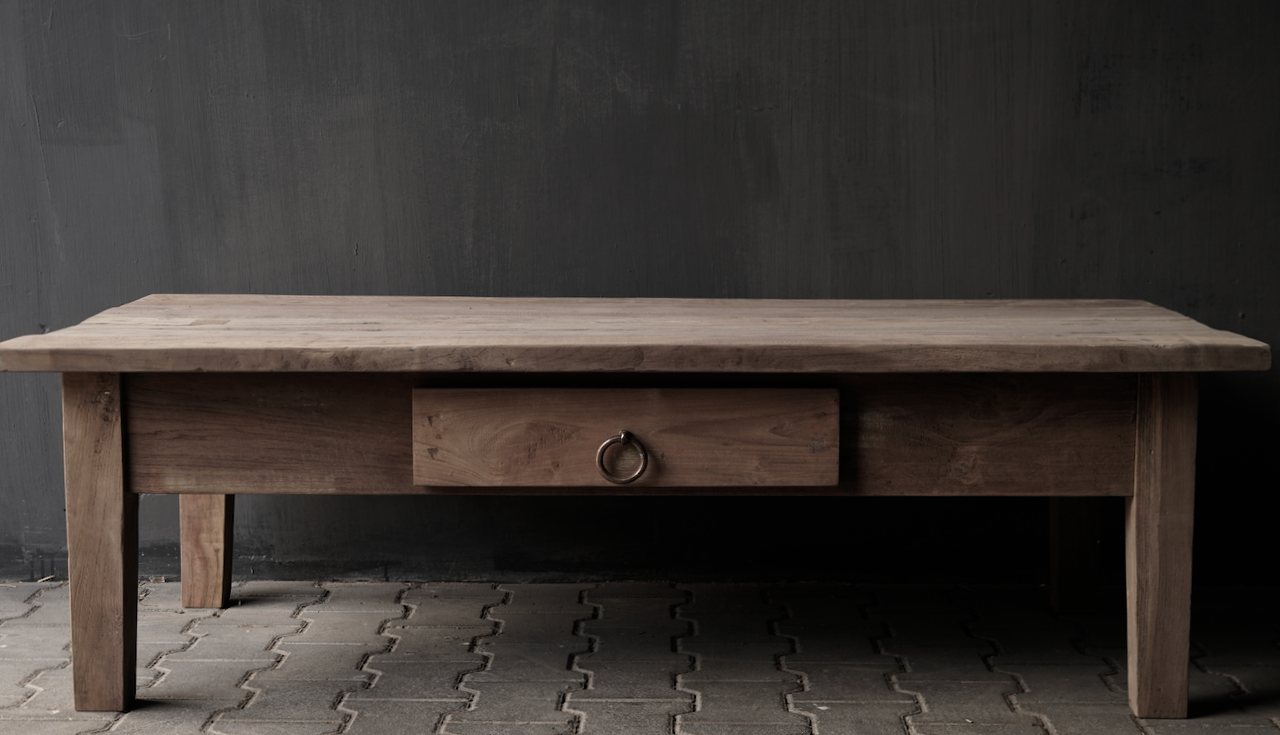 Coffee table with drawer made of old wood-4