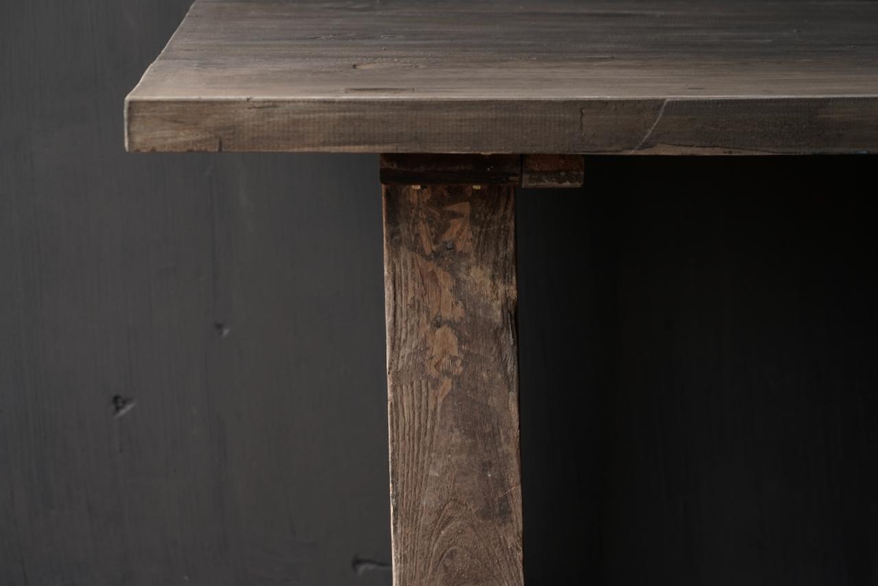 Robuster robuster ländlicher Tisch aus altem Holz 200x100 cm-4