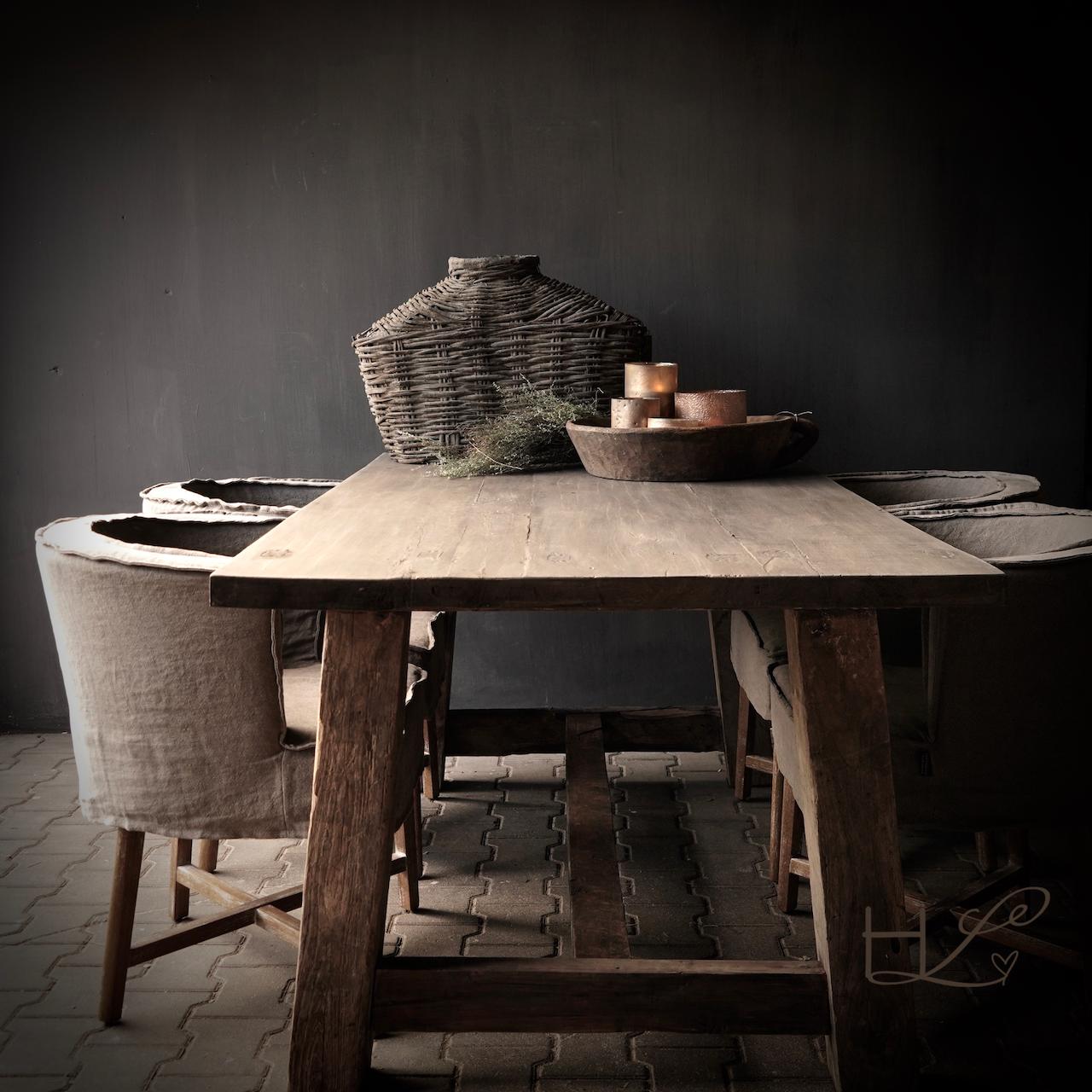 Robuster robuster ländlicher Tisch aus altem Holz 200x100 cm-6