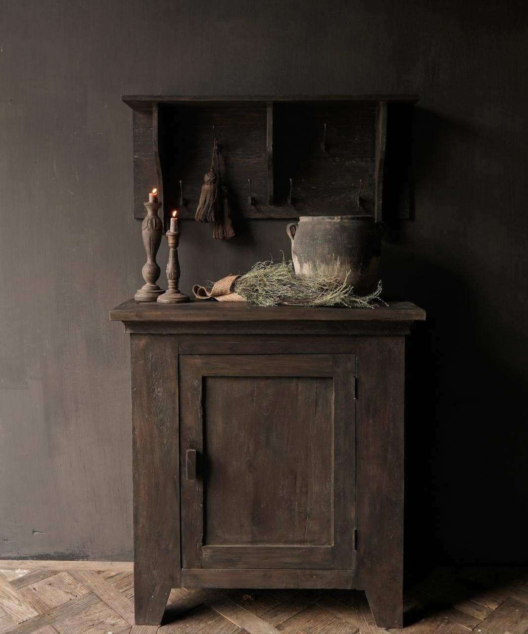 Kapstok / Wand console  gemaakt van oud gebruikt hout met ijzeren haken-2