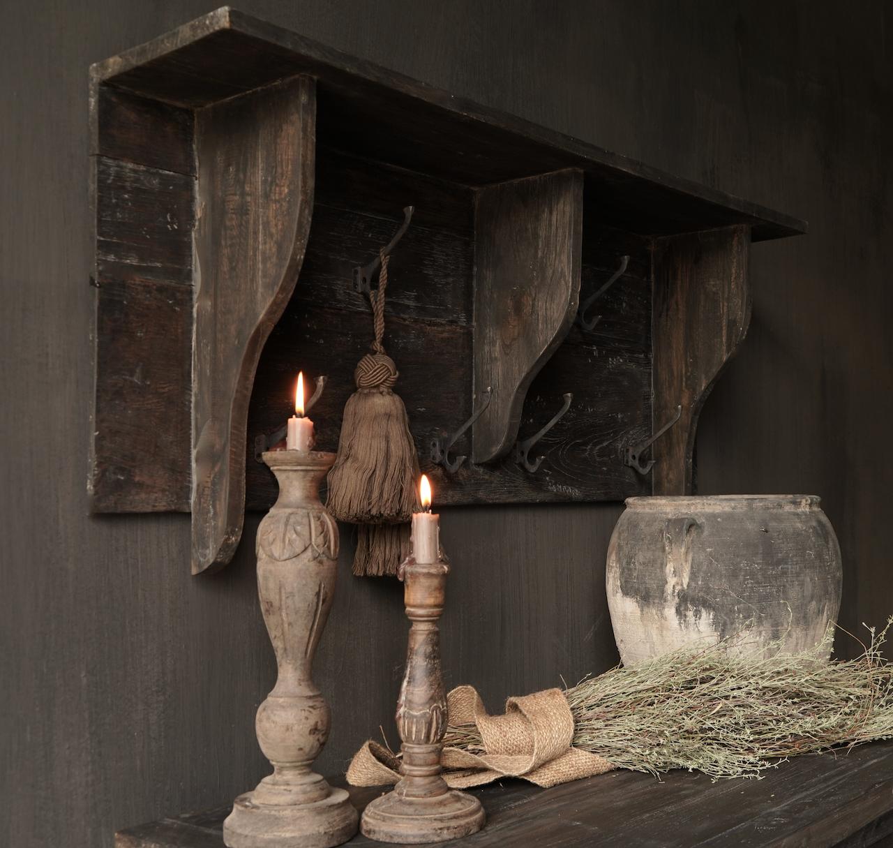 Kapstok / Wand console  gemaakt van oud gebruikt hout met ijzeren haken-3