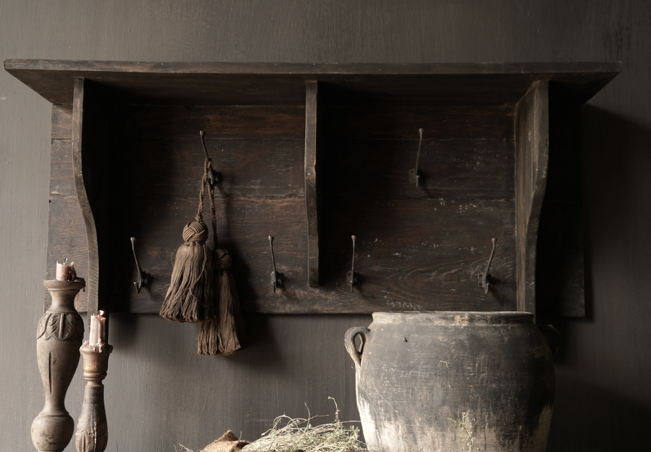Kapstok / Wand console  gemaakt van oud gebruikt hout met ijzeren haken-4