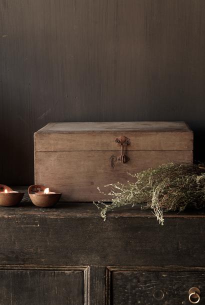 Oude Uniek Authentieke houten kistje