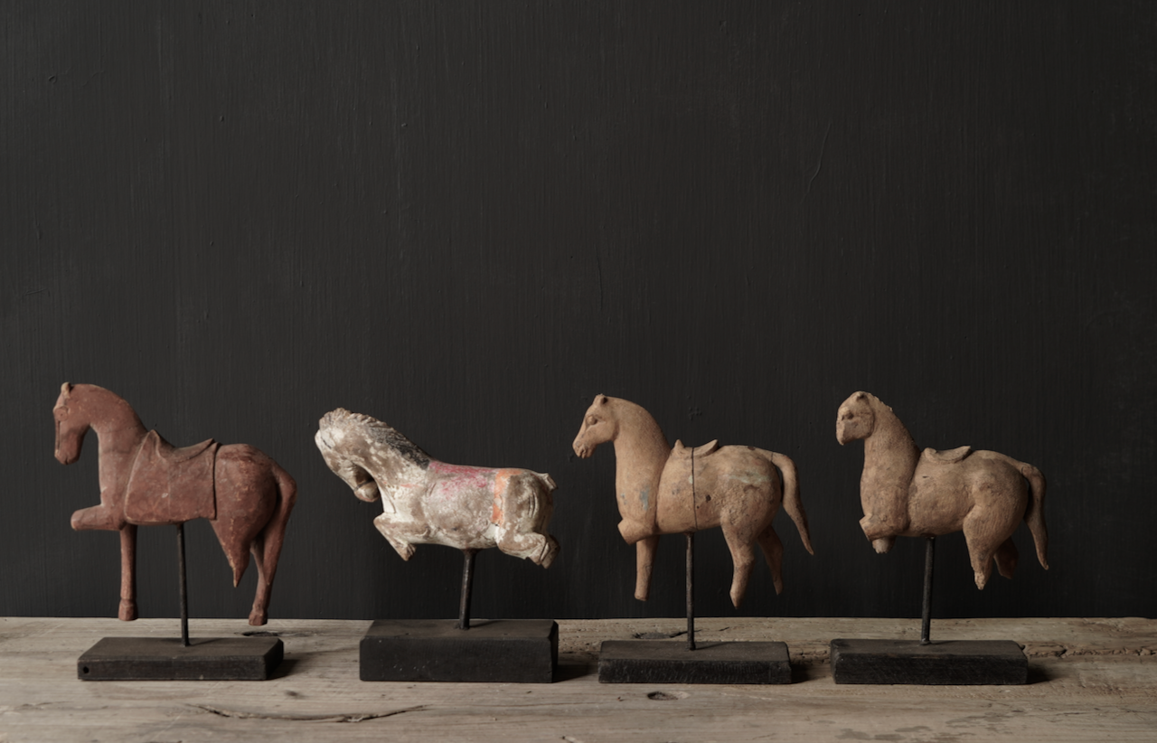 Authentic unique wooden horse on stand-2