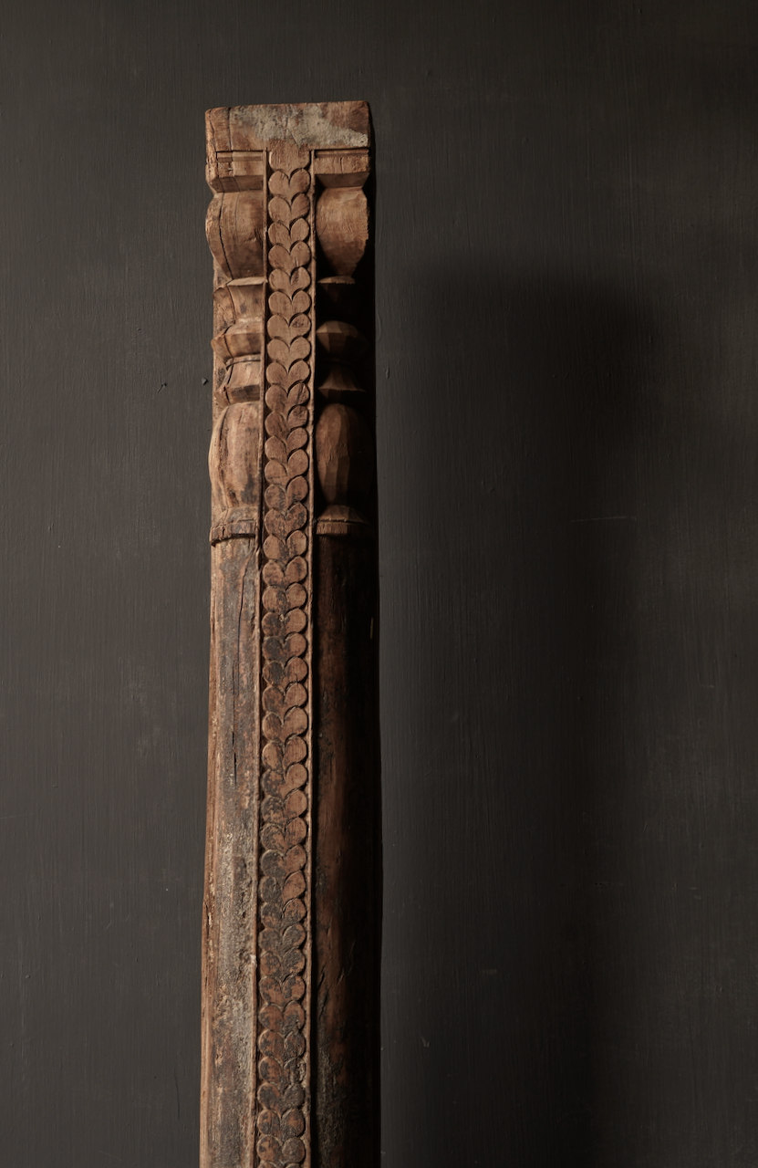Authentic Indian Wooden pillar on an iron base-5