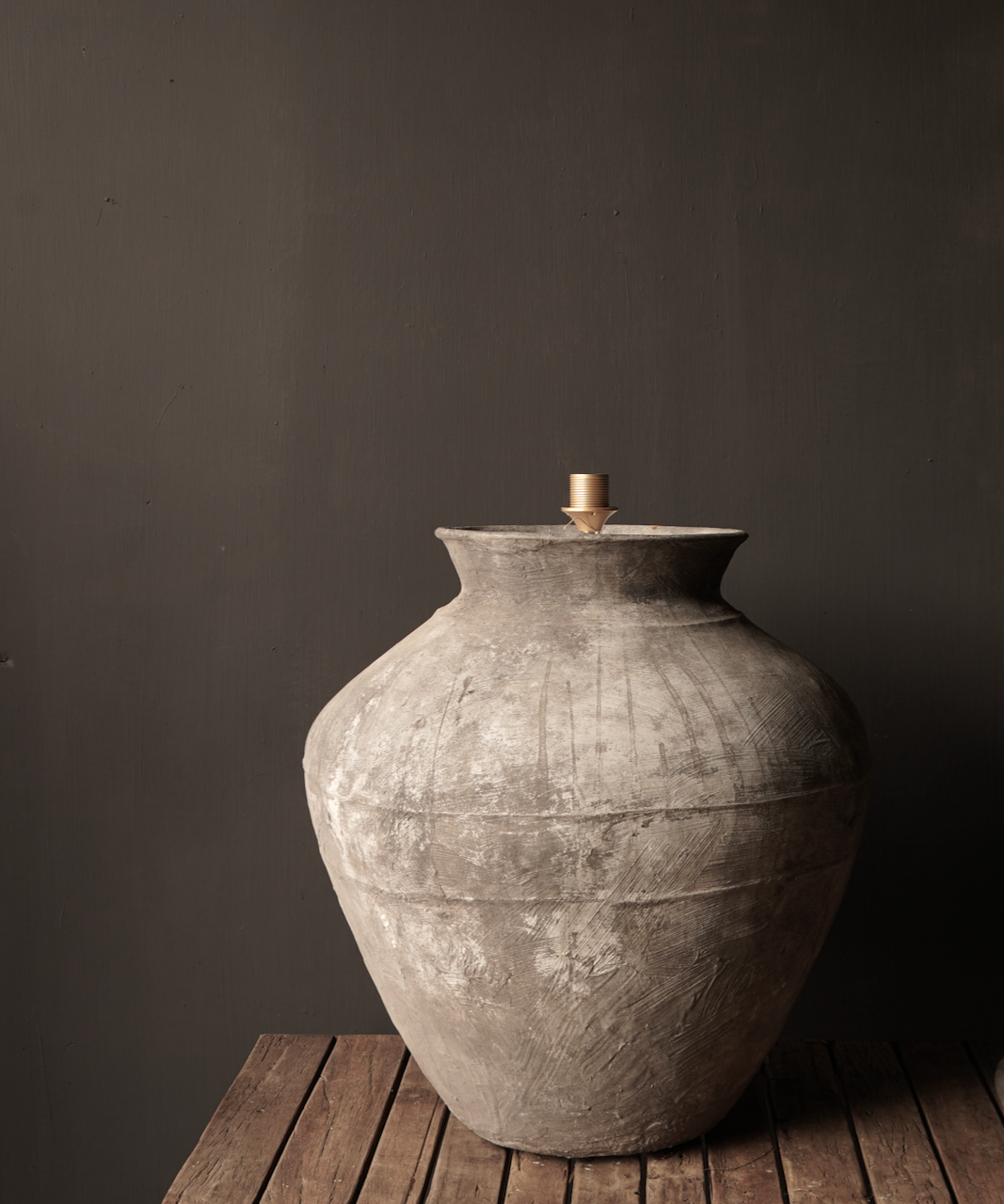 Jug lamp made from an old authentic terracotta Indian water jug - Copy-3