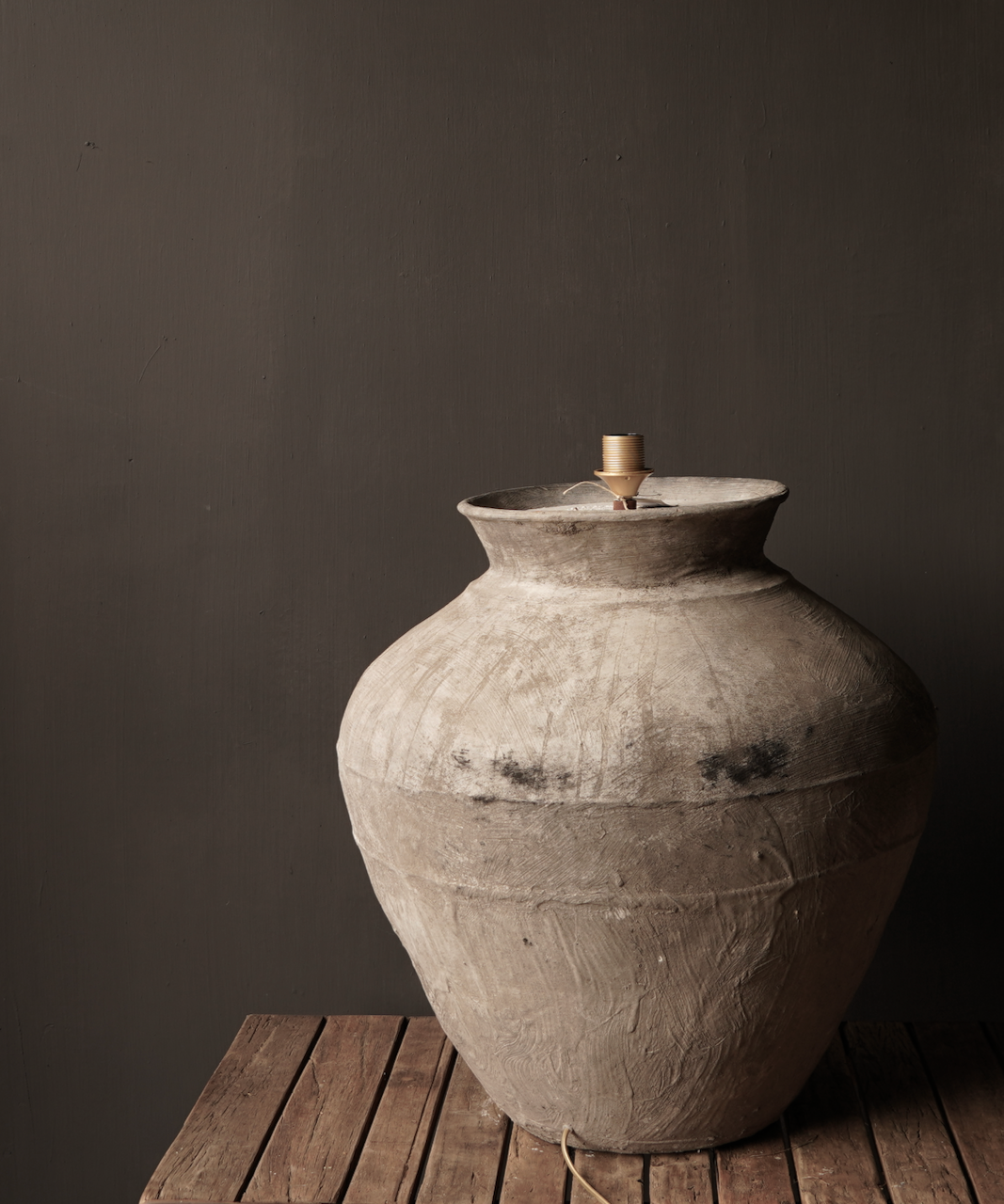 Jug lamp made from an old authentic terracotta Indian water jug - Copy-4