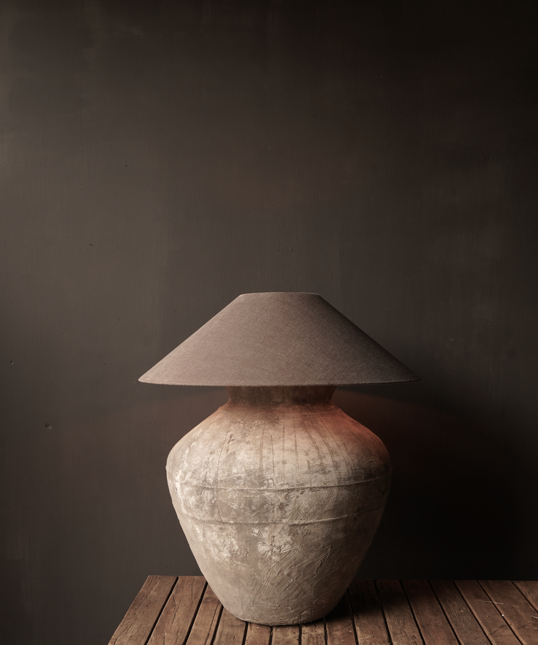 Jug lamp made from an old authentic terracotta Indian water jug - Copy-1