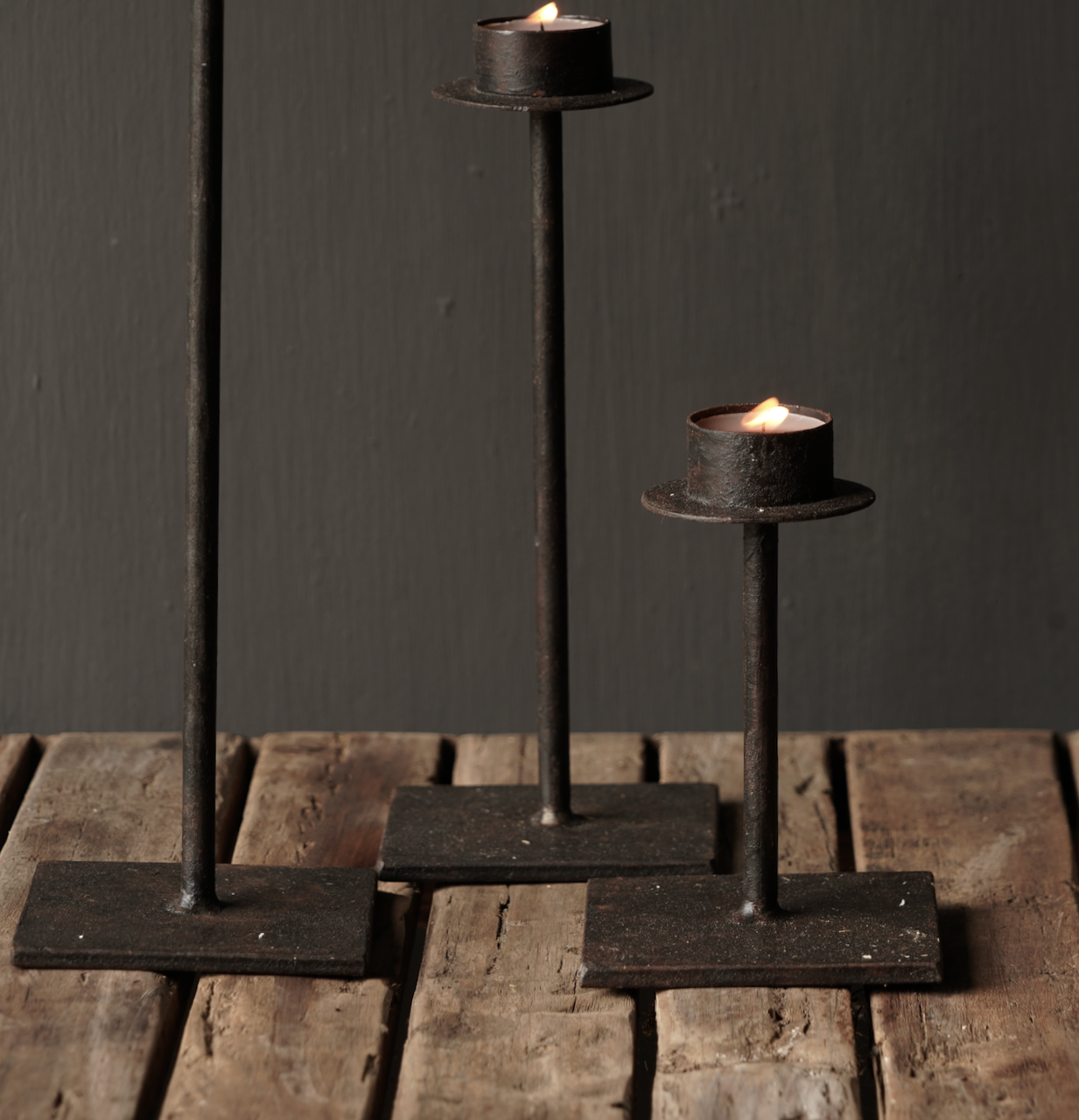 Set of three iron tea holders-3
