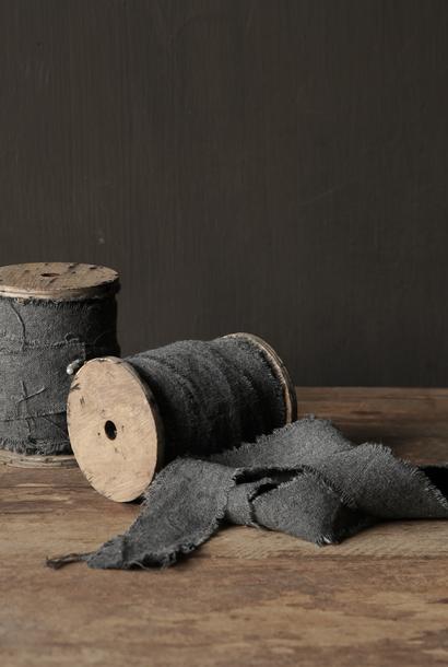 Gray vintage cotton frayed ribbon