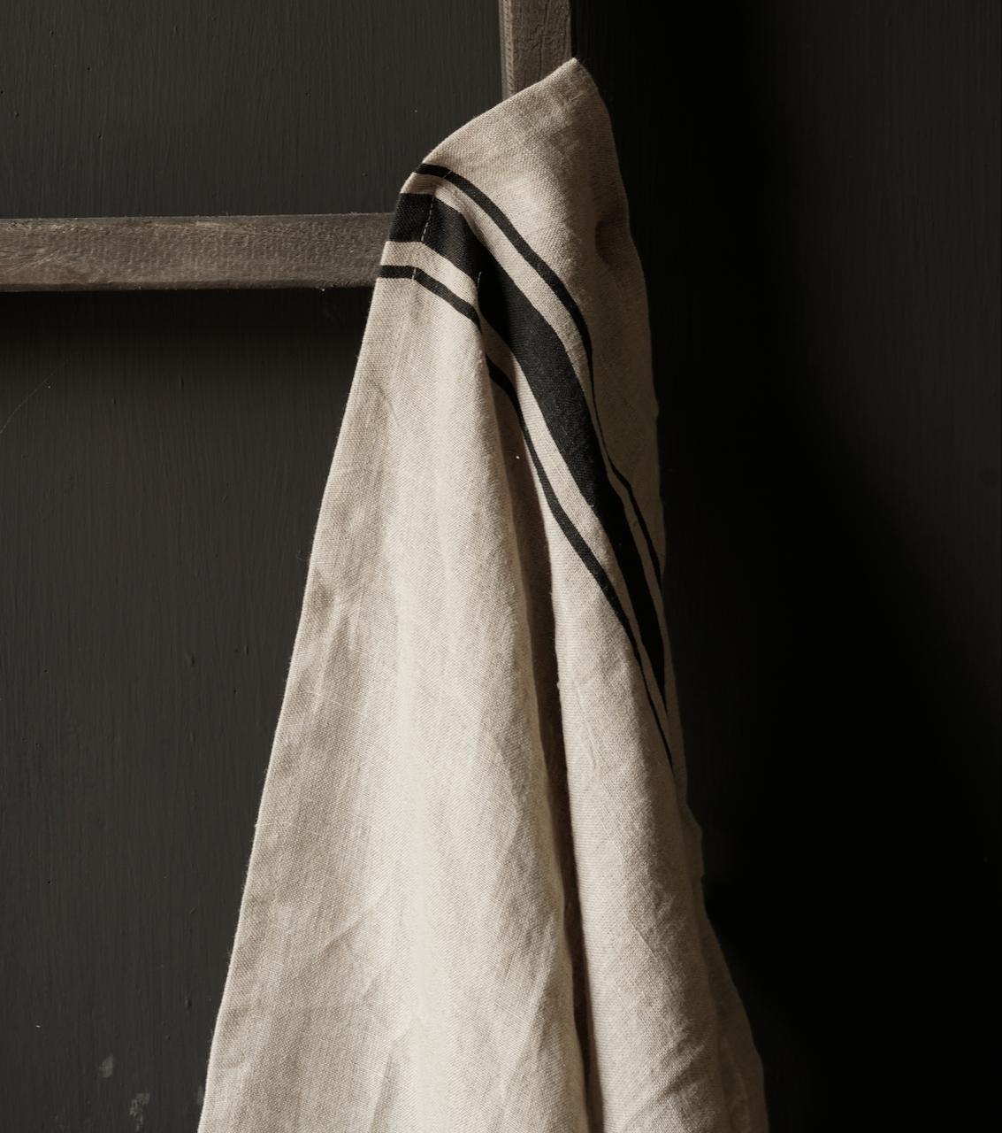 linen kitchen towel with black stripe-2