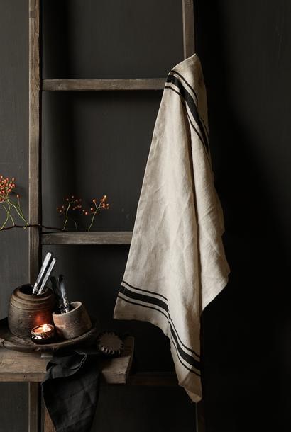 Leinen Küchentuch mit schwarzen Streifen