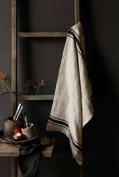 linen kitchen towel with black stripe
