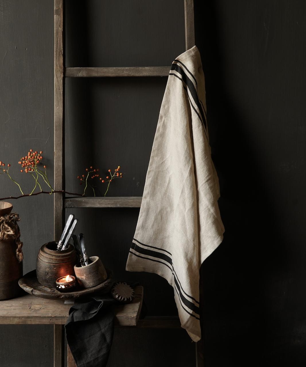 linen kitchen towel with black stripe-1
