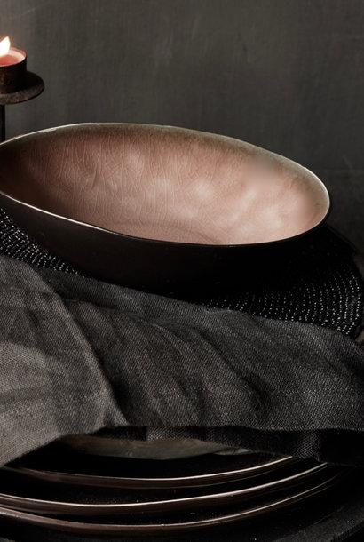 Stoere Zwarte linnen  servet set van vier