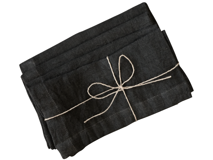 Cool Black linen napkin set of four-2