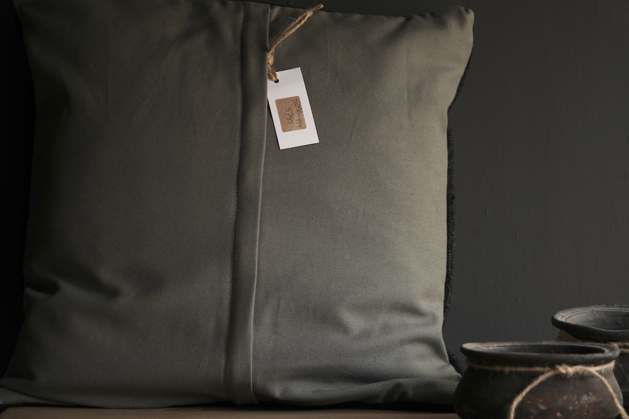 Beautiful sturdy black coarse Hemp pillow-4