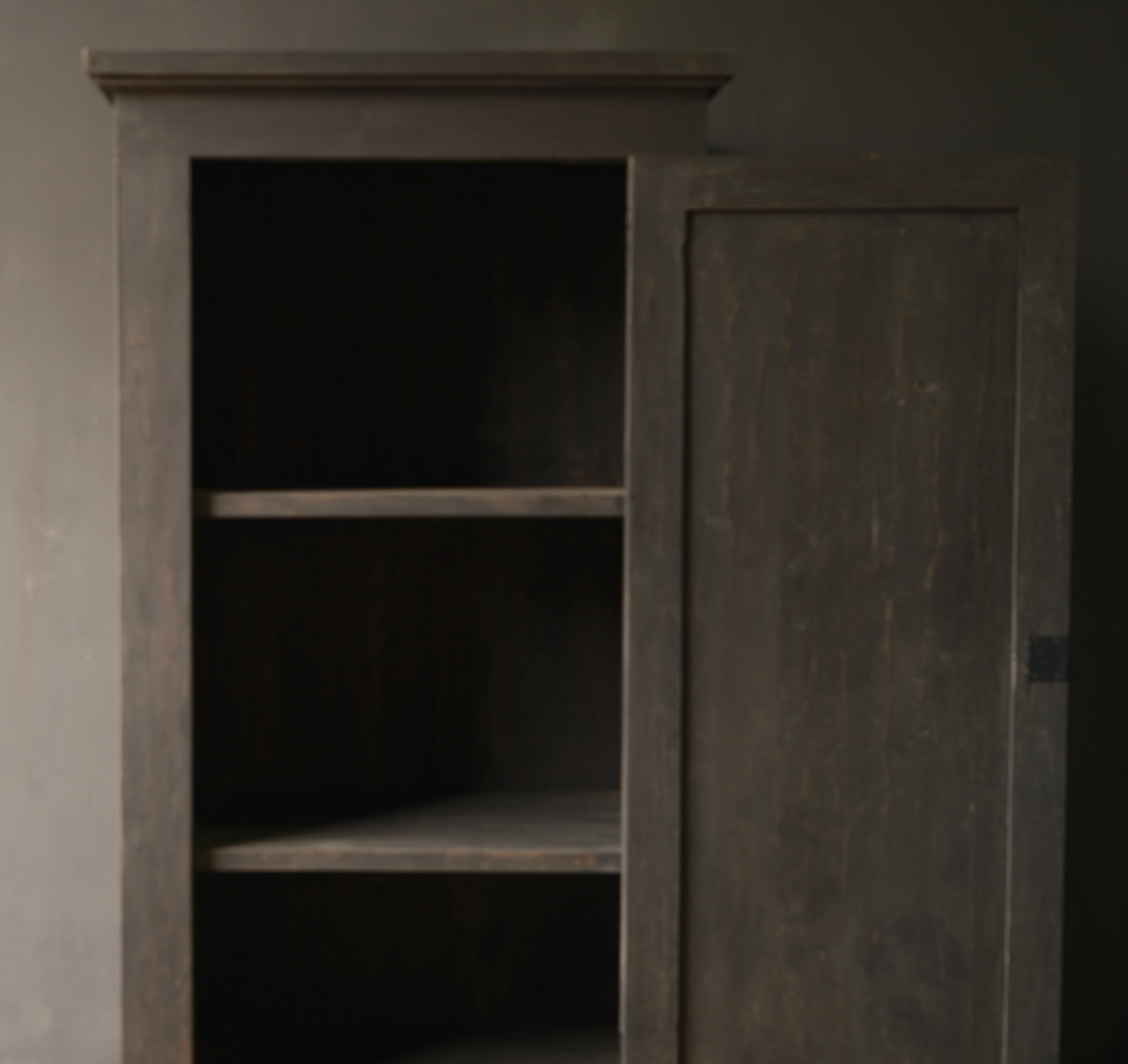 Tough one door cupboard of old wood with three shelves-2