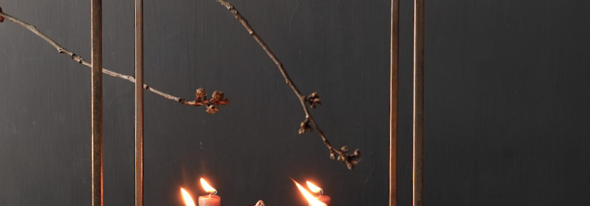 Metalen brons kleurig kaarsen houder