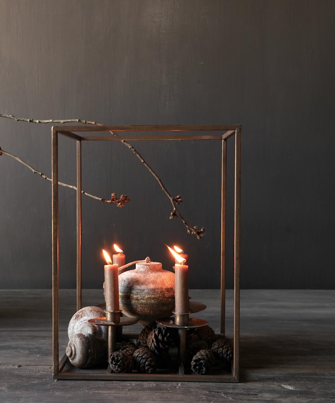 Metalen brons kleurig kaarsen houder-1
