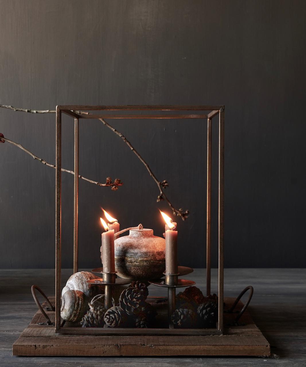 Metalen brons kleurig kaarsen houder-2