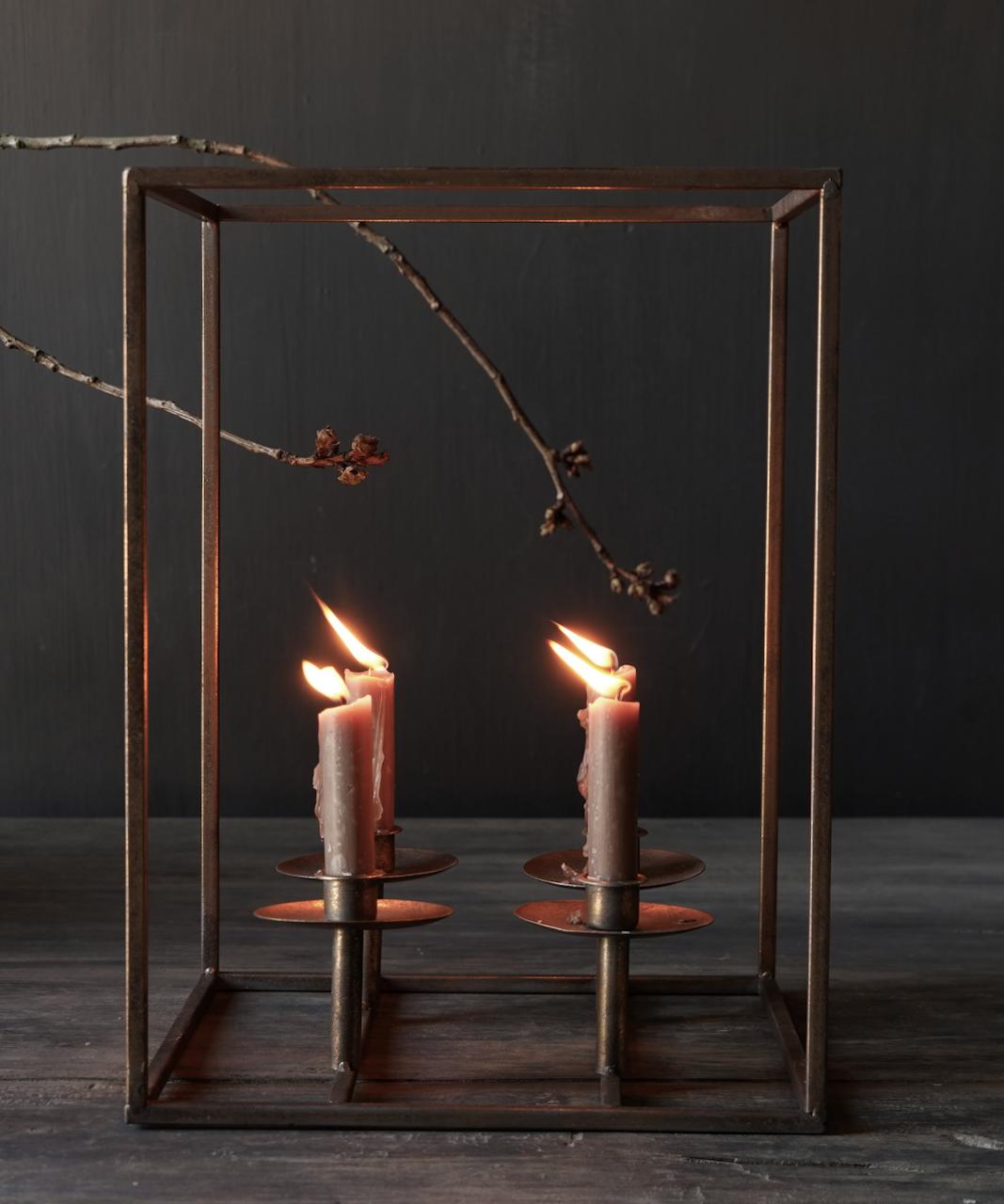 Metalen brons kleurig kaarsen houder-3
