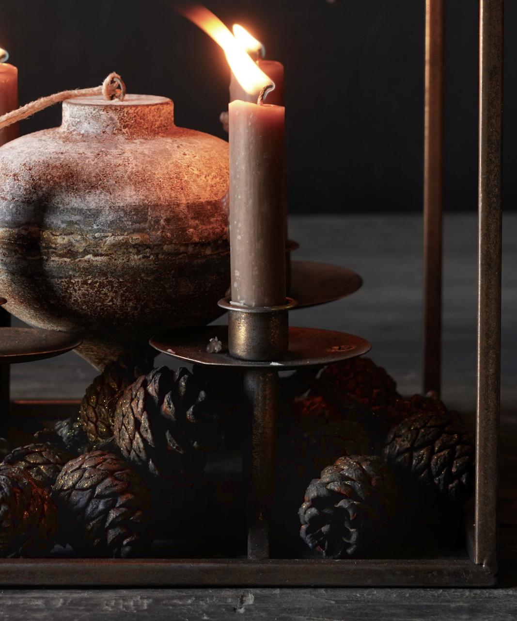 Metalen brons kleurig kaarsen houder-4