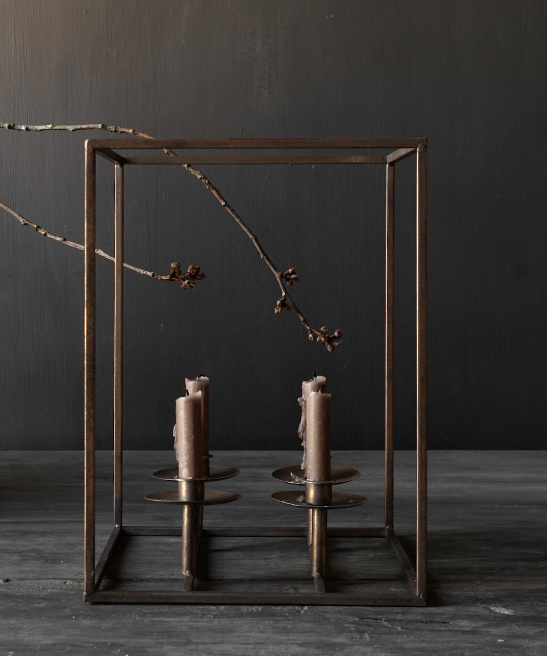 Metalen brons kleurig kaarsen houder-5