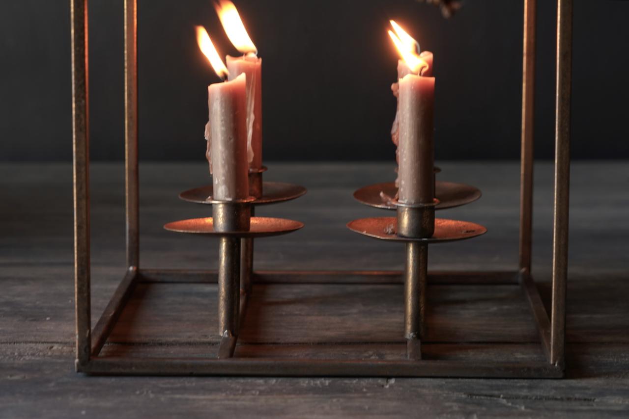 Metalen brons kleurig kaarsen houder-6