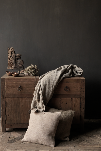Set Old sturdy wooden cabinets or bedside tables