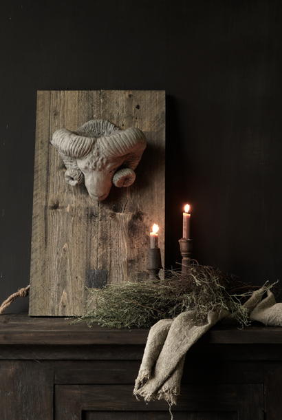stone ram's head on wooden panel