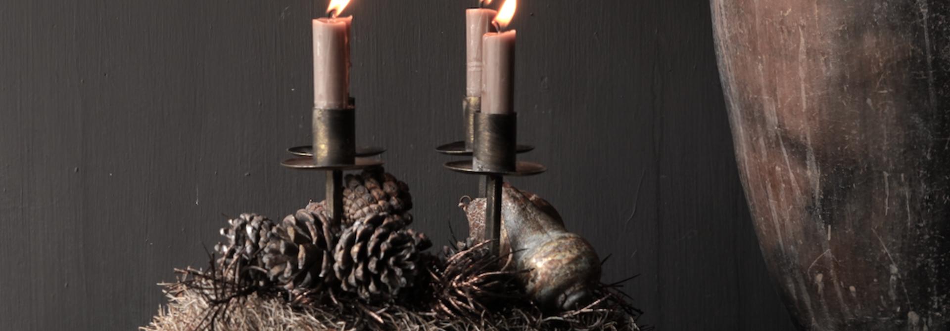 Metalen brons/goud kleurig kaarsen houder /kandelaar