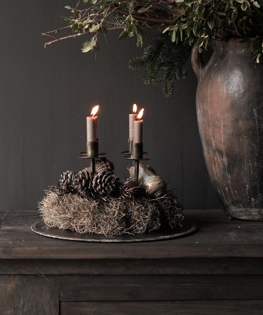 Metalen brons/goud kleurig kaarsen houder /kandelaar-1